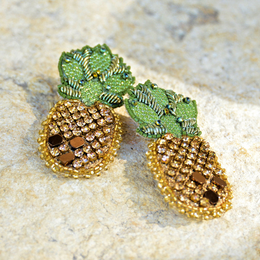 Hand-Beaded Pineapple Earrings - Gold/Bronze/Green