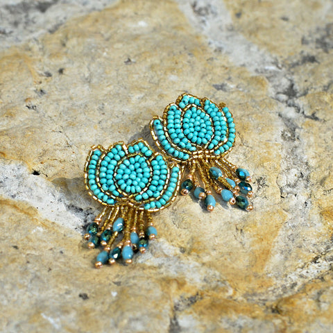 Hand-Beaded Lotus Earrings - Jade
