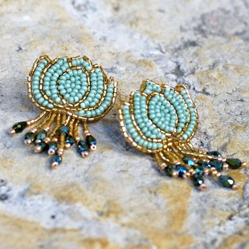 Hand-Beaded Lotus Earrings - Mint