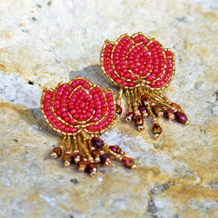 Hand-Beaded Lotus Earrings - Dark Pink