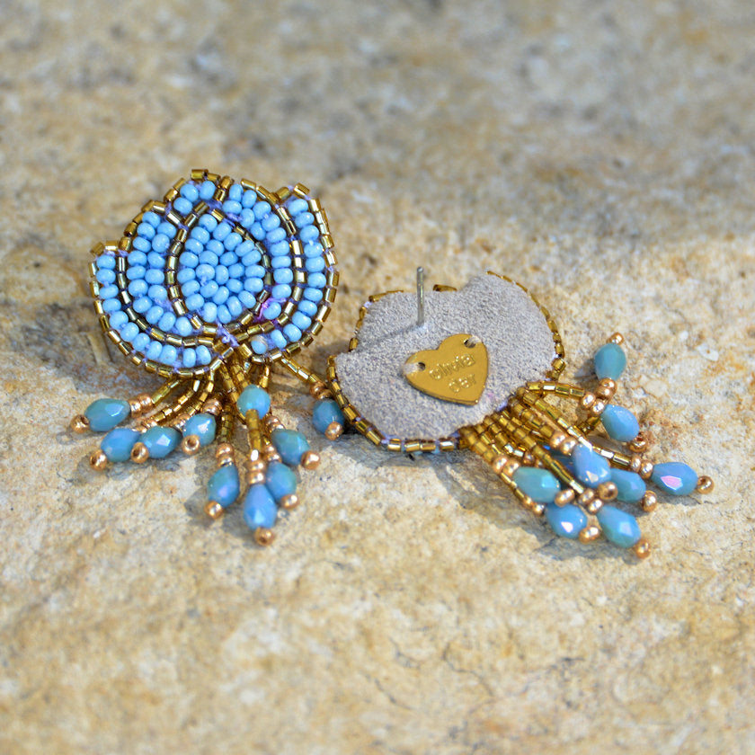 Hand-Beaded Lotus Earrings - Light Blue