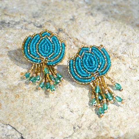 Hand-Beaded Lotus Earrings - Teal