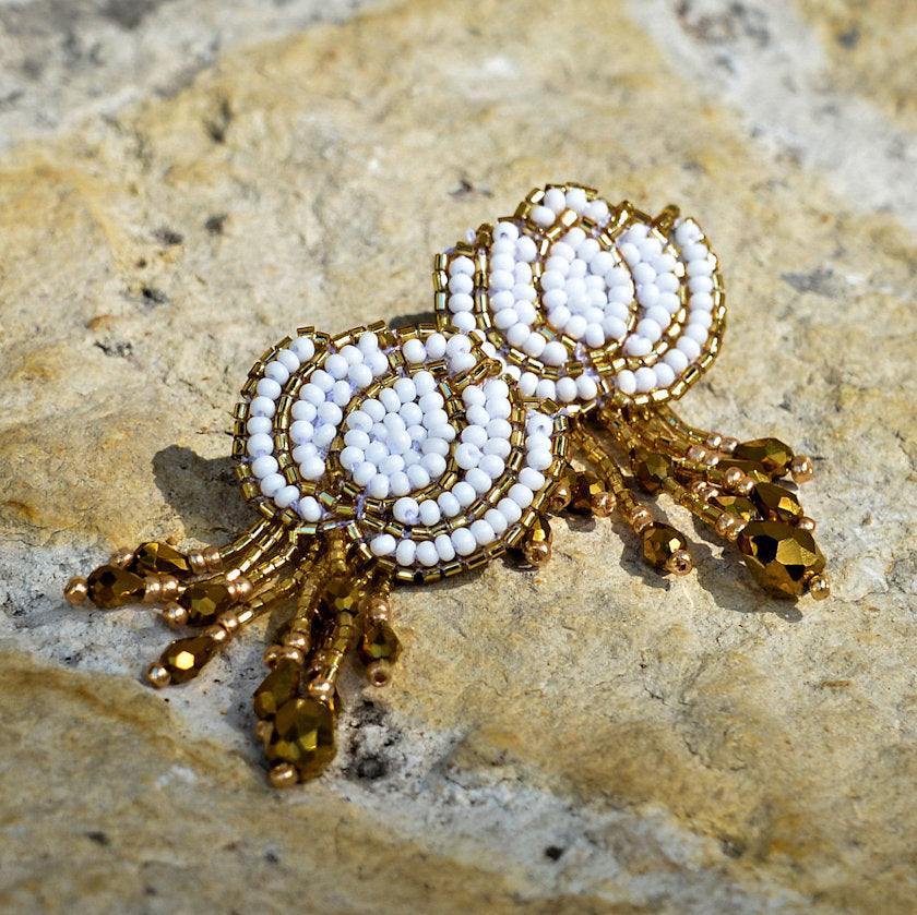 Hand-Beaded Lotus Earrings - White