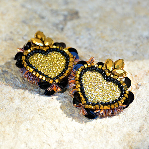 Hand-Beaded Heart Earrings - Black/Gold/Bronze