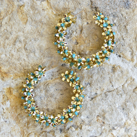 Hand-Beaded Hoop Flower Earrings - Large Blue and Gold
