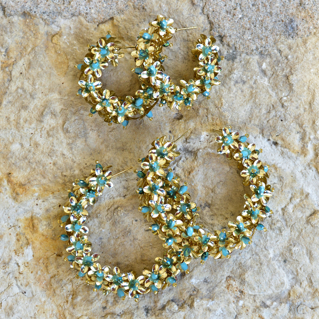 Hand-Beaded Hoop Flower Earrings - Small Blue and Gold