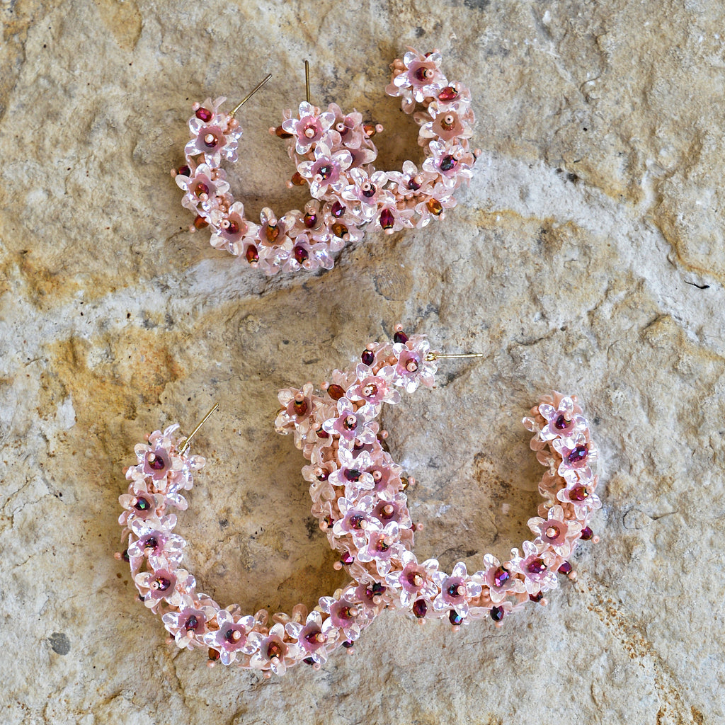 Hand-Beaded Hoop Flower Earrings - Large Coral