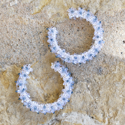 Hand-Beaded Hoop Flower Earrings - Large Blue and White