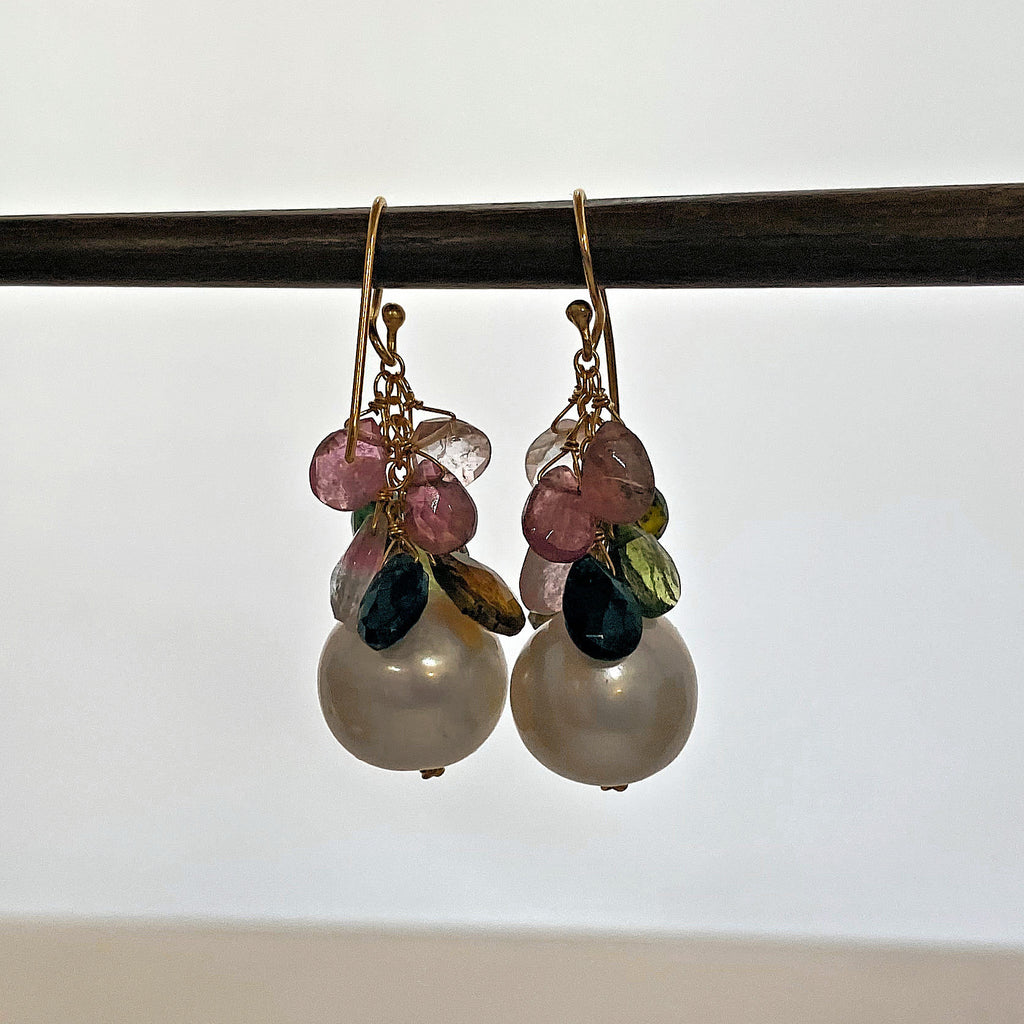 Baroque Pearl Earrings with Mixed Gemstones