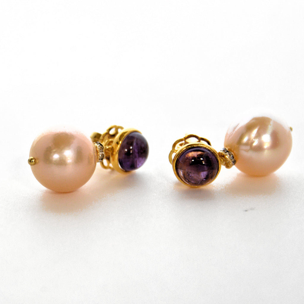 Amethyst and Pearl Stud Earrings