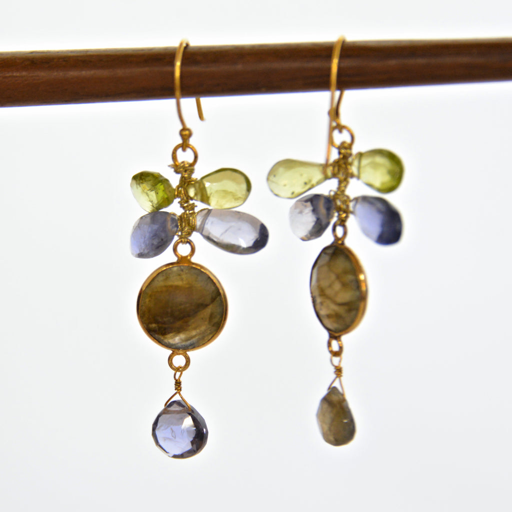 Mixed Gem Earrings - Green & Lavender