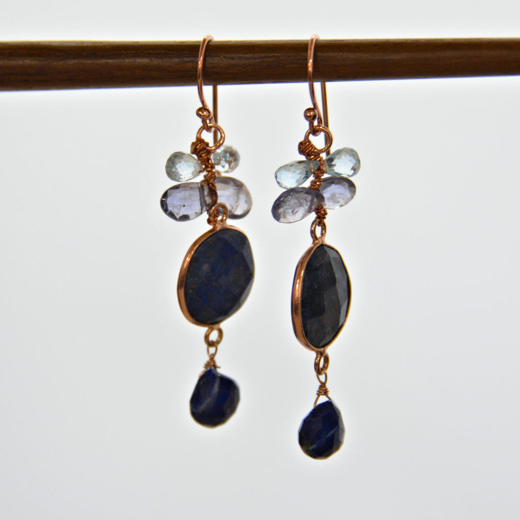 Mixed Gem Earrings - Blue