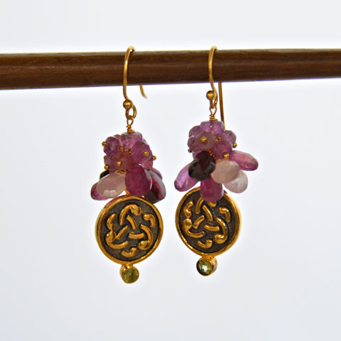 Mixed Gem Earrings - Pink & Purple