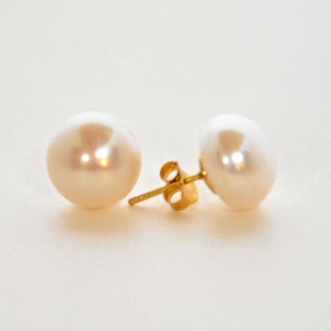 Pearl Stud Earrings - White
