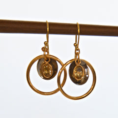 Gold Ring with Gem Drop Earring