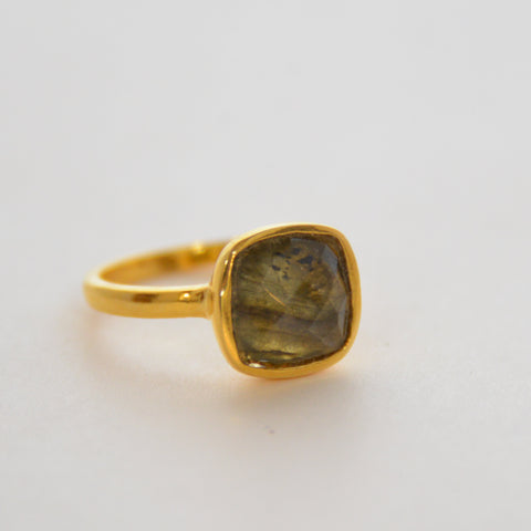 Square Cut Gem Ring