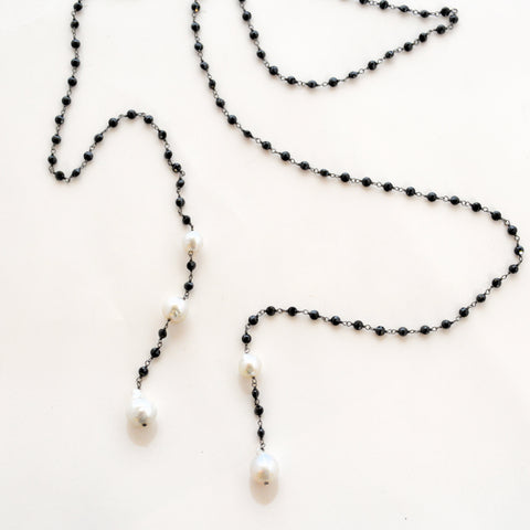 South Sea Pearl with Black Lariat Necklace