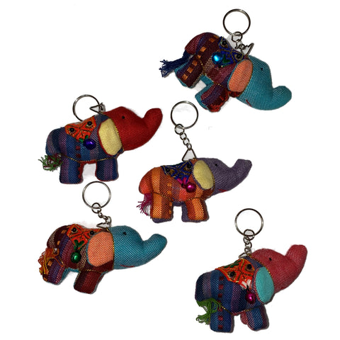 Thai Fabric Elephant Keychain