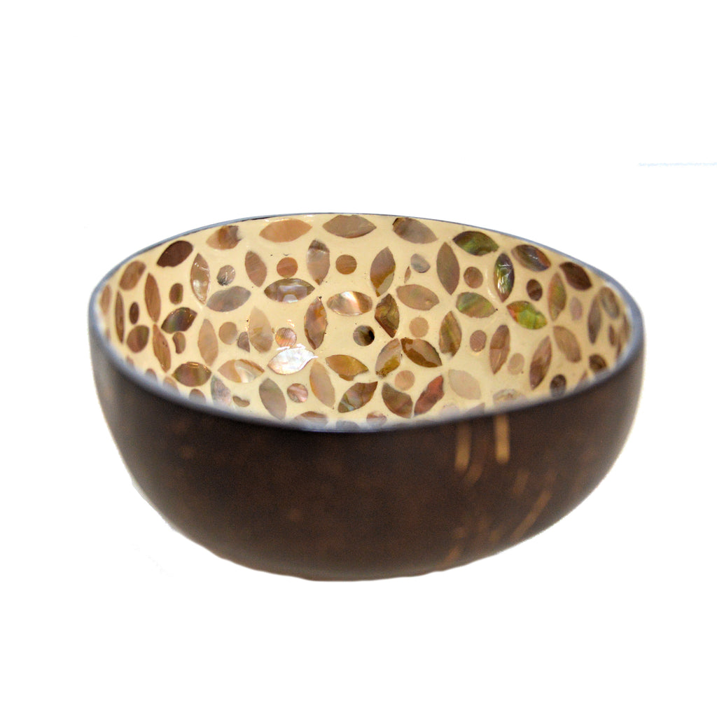 Mother of Pearl Lacquered Coconut Shell Bowls - Cream and Tan