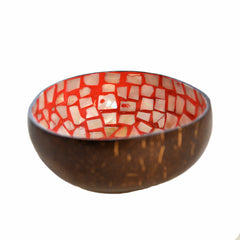 Eggshell and Mother of Pearl Lacquered Coconut Shell Bowls - Orange and White