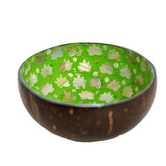 Mother of Pearl Lacquered Coconut Shell Bowls - Lime Green and White Oak Leaf