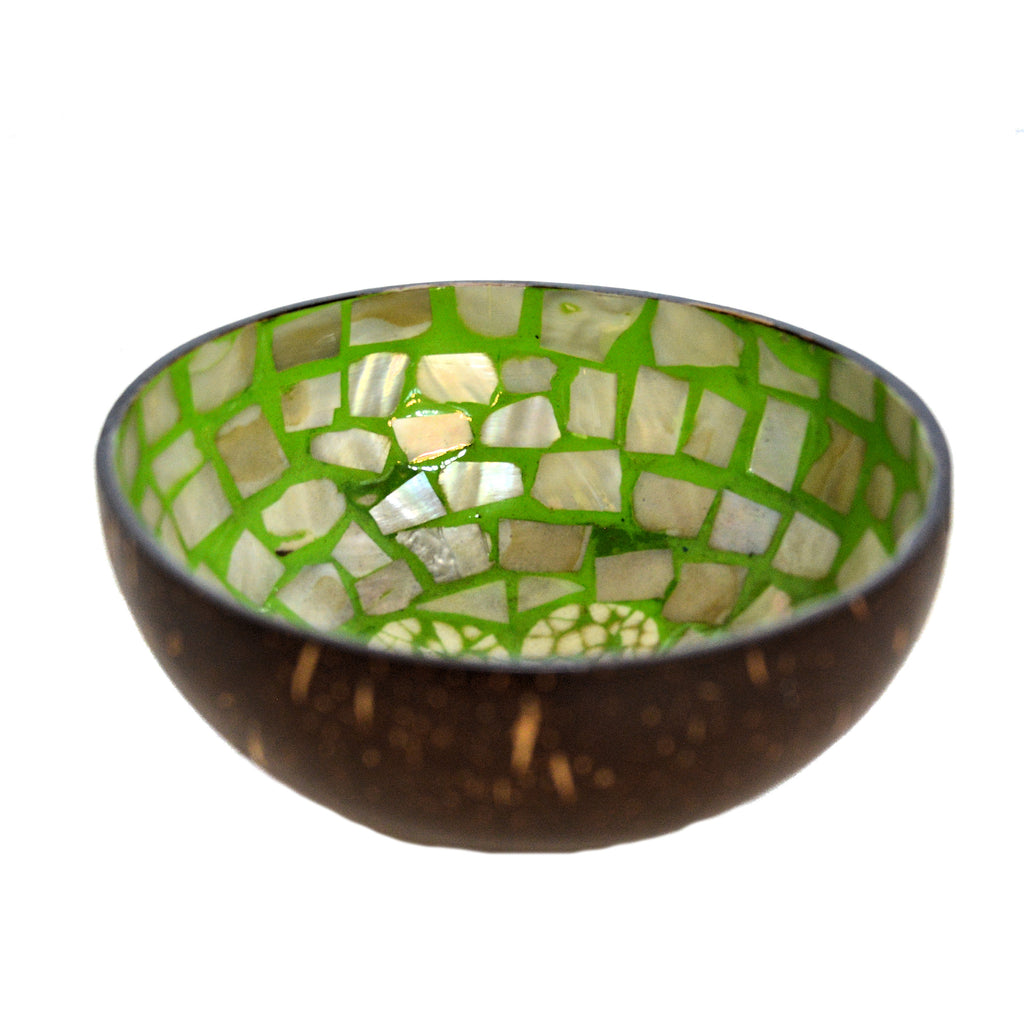 Eggshell & Mother of Pearl Lacquered Coconut Shell Bowls - Lime Green and White