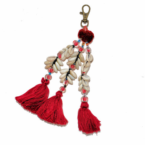 Shell Three Tassel Keychain