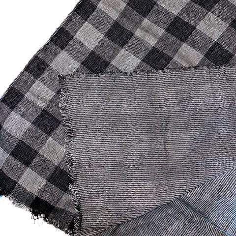 Pahkahmah 2-Sided Scarf - Medium Black Check/Stripe