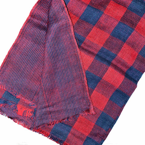 Pahkahmah 2-Sided Scarf - Red & Blue Medium Check/Stripe