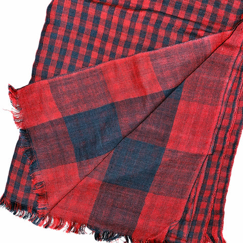 Pahkahmah 2-Sided Scarf - Red & Blue Small/Large Check