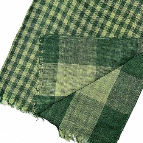 Pahkahmah 2-Sided Scarf - Green Small/Large Check