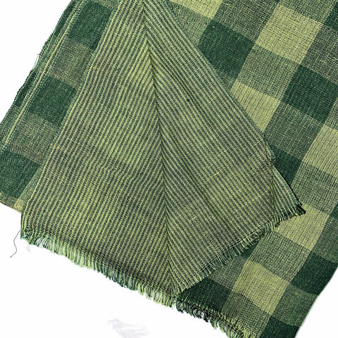 Pahkahmah 2-Sided Scarf - Green Medium Check/Stripe