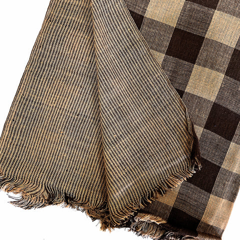 Pahkahmah 2-Sided Scarf - Brown Medium Check/Stripe