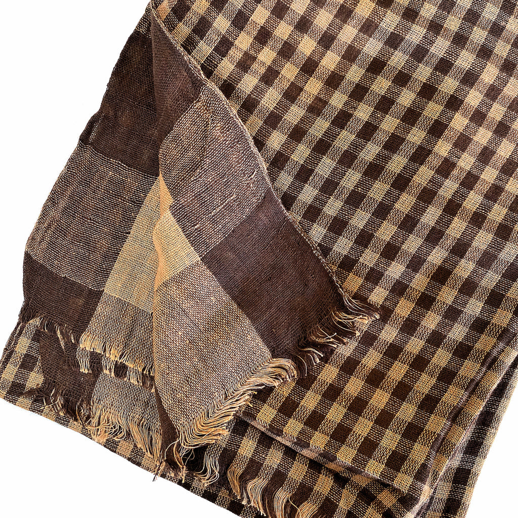 Pahkahmah 2-Sided Scarf - Brown Small/Large Check