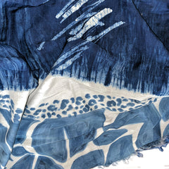 Hand Painted Silk Indigo Scarf