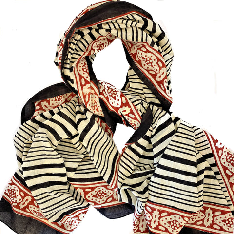Batik Print Cotton Scarf (Black Stripe)