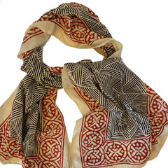 Batik Print Cotton Scarf (Black Rectangles)