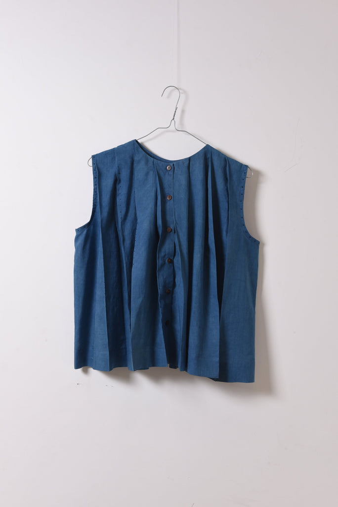 CROW Indigo Pleated Top