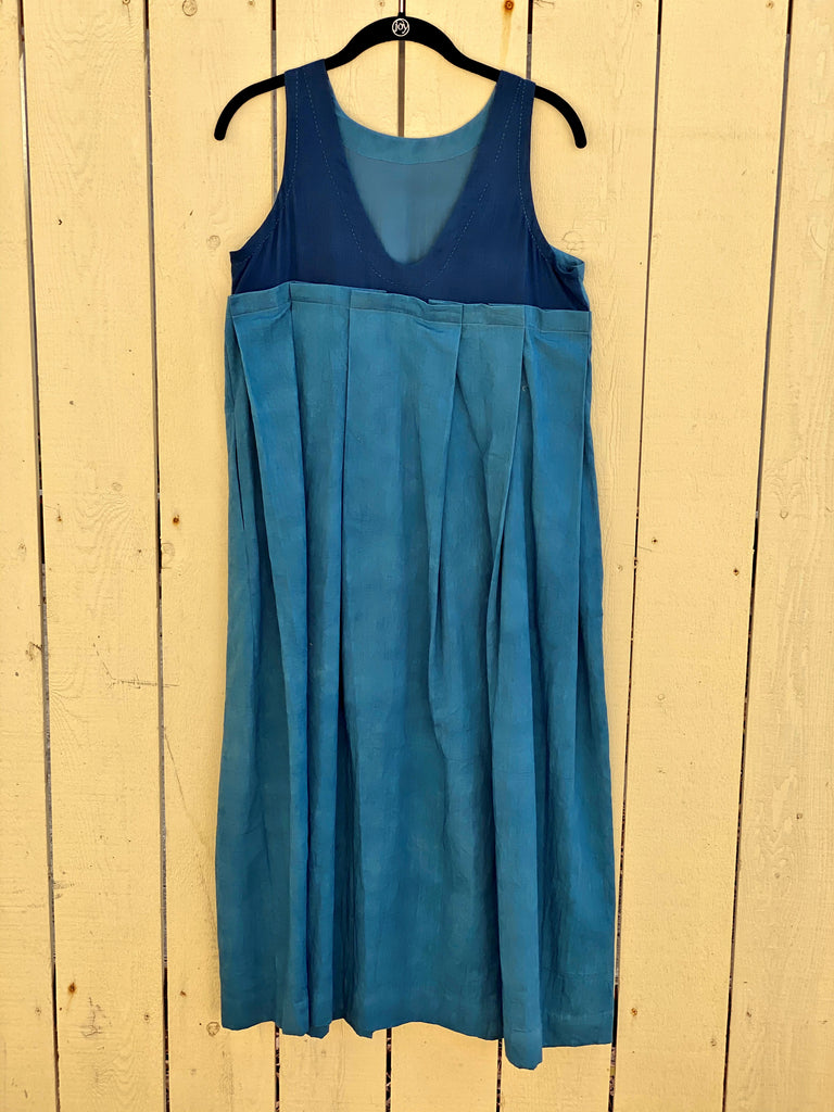 CROW Indigo Deep Back V-Neck Indigo Dress