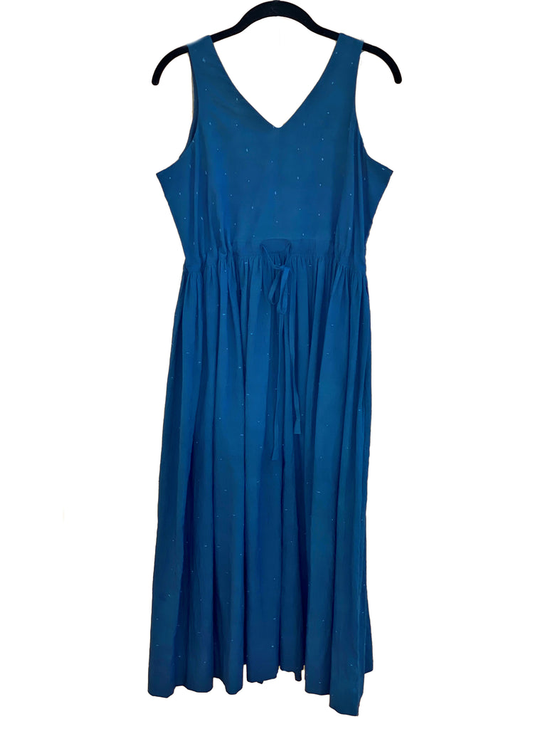 CROW Indigo Deep Back V-Neck Yoke Dress