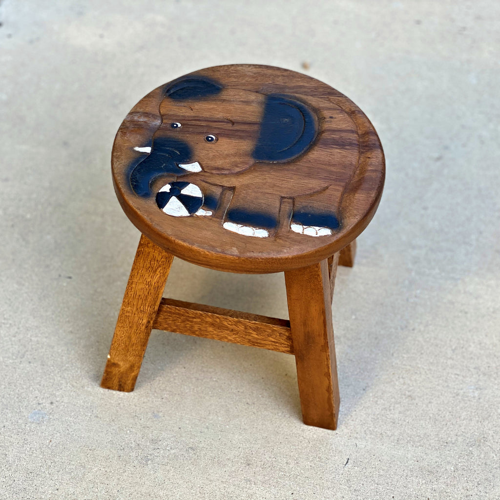 Carved Wood Child's Elephant Stool - Elephant with Soccer Ball