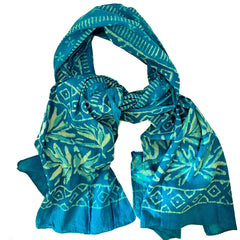 Batik Print Cotton Scarf (Light Blue Leaf)
