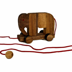 Wooden Elephant Pull Toy Puzzle