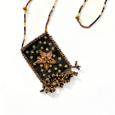 Olivia Dar Talisman Necklace - Sunburst - Gold and Black