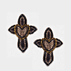 Olivia Dar Cross Heart Earrings - Black
