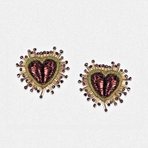 Olivia Dar Mini Sparkle Heart Earrings - Bronze & Khaki