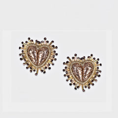 Olivia Dar Mini Sparkle Heart Earrings - Gold