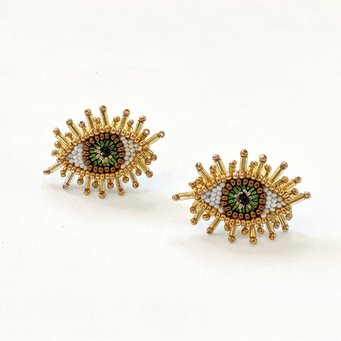 Olivia Dar Mini Eye Earrings - Green