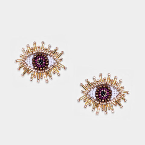 Olivia Dar Mini Eye Earrings - Purple