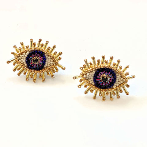 Olivia Dar Mini Eye Earrings - Navy